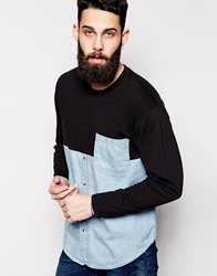 Reclaimed Vintage Denim Shirt With Jersey Panel Blue