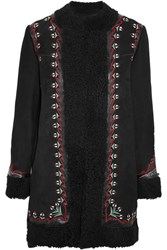 Vilshenko Agnes Leather Trimmed Embroidered Shearling Coat Black