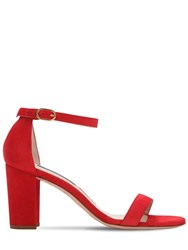 Stuart Weitzman 80Mm Nearly Nude Suede Sandals Red