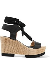 Paloma Barcelo Carla Lace Up Leather Wedge Sandals Black