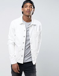 New Look Denim Worker Jacket With Pockets In White Off White