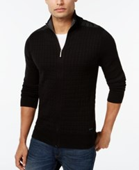 Dkny Jeans Quilted Full Zip Sweater Black