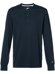 Rag And Bone Buttoned Sweatshirt Cotton Polyester S Blue
