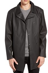 Stutterheim Men's Skeppsbron Rubberized Cotton Blend Peacoat