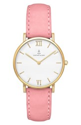 Kapten And Son Women's Joy Leather Strap Watch 32Mm Pink White Gold