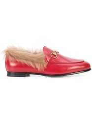 Gucci Jordaan Fur Lined Loafers Red