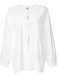 Veronique Branquinho Beaded Tie Neck Blouse White