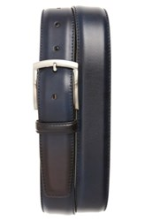 Magnanni Men's Big And Tall Tanning Leather Belt Navy