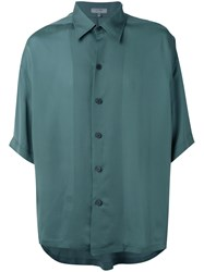 Lanvin Short Sleeve Shirt Men Cupro 38 Green