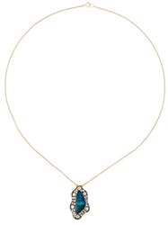 Monan Aquamarine And Diamond Pendant Necklace Metallic