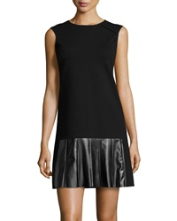 Derek Lam 10 Crosby Faux Leather Pleated Dress Black
