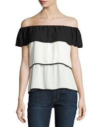 19 Cooper Off The Shoulder Tiered Top White Black