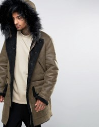 Asos Faux Shearling Parka With Hood In Khaki Khaki Green