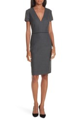 Boss Doritala Wool Blend Sheath Dress Grey Fantasy
