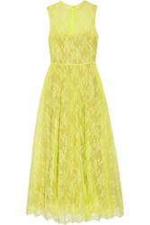 Valentino Pleated Silk Lace Midi Dress Chartreuse