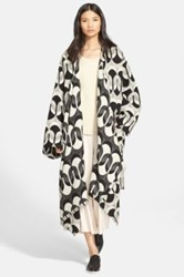 Tracy Reese Jacquard Wool Blend Blanket Coat Black