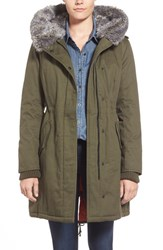 Women's Kensie Faux Fur Trim Cotton Twill Parka Olive