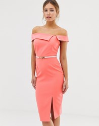 Paper Dolls Cutaway Neck Pencil Dress With Belt In Coral Orange
