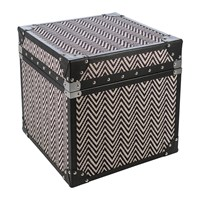 Amara Zigzag Leather Chest Black And White