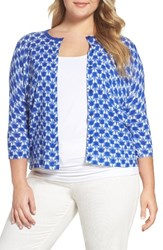 Persona By Marina Rinaldi Plus Size Women's Matisse Print Cardigan China Blue