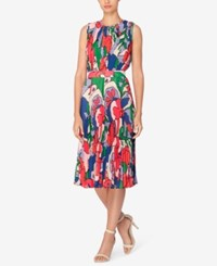 Catherine Malandrino Printed Pleated Fit And Flare Dress Fractal Floral