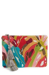 Steve Madden Embroidered Clutch Coral Multi
