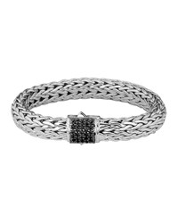 Classic Chain 11Mm Large Braided Silver Bracelet Black Sapphire John Hardy