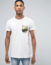 Pull And Bear Pullandbear T Shirt With Camo Pocket In White White