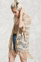 Forever 21 Crochet Open Front Cardigan Nude