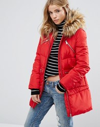 New Look Padded Faux Fur Hood Jacket Bright Red