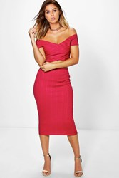 Boohoo Bandage Off The Shoulder Crop And Midi Skirt Berry