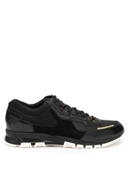 Lanvin Mesh Cross Suede And Leather Trainers Black