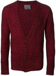 Laneus V Neck Cardigan Red
