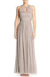 Women's Dessy Collection Ruched Chiffon Keyhole Halter Gown Taupe