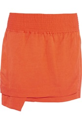 Acne Studios Ilon Li Mix Layered Woven Mini Skirt Orange