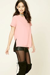 Forever 21 Faux Suede High Low Tee Blush