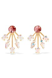 Elizabeth Cole Azizi Gold Plated Swarovski Crystal Earrings Antique Rose