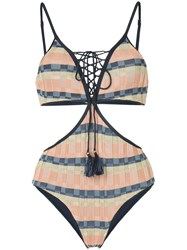 Suboo Knit Lace Up Swimsuit Multicolour