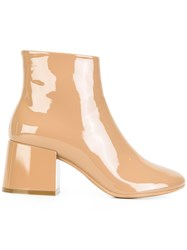 Maison Martin Margiela Mm6 Shiny Ankle Boots Nude Neutrals