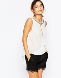 Tfnc Wrap Front Top With Necklace Cream