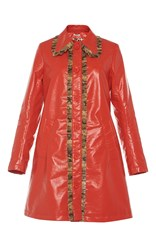 Manoush Waxed Ruffle Trench Coat Red