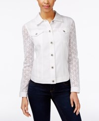 Charter Club Eyelet Sleeve Button Front Jacket Only At Macy's Bright White