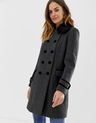 Naf Naf Double Button Military Coat With Faux Fur Collar Grey