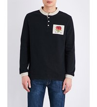 Kent And Curwen Rose Embroidered Cotton Jersey Rugby Top Black