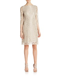 Calvin Klein Metallic Lace Dress Beige Silver