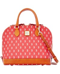 Dooney And Bourke Boston Red Sox Zip Zip Satchel Navy Red