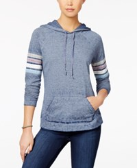 Hippie Rose Juniors' Striped Sleeve Pullover Hoodie Navy Combo