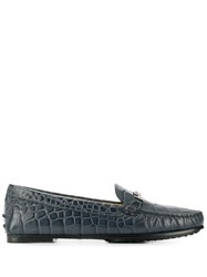 Tod's Croc Effect Loafers Blue