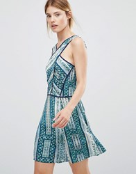 Greylin Karissa Cross Front Printed Skater Dress Sea Green