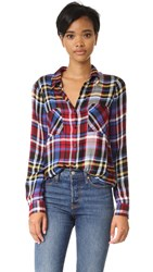 L'agence Jacqueline Flannel Top Red Multi